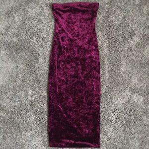 Wine colored velvet strapless dress